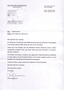 Schreiben des Deutschen Bundestages: P-Konto-Petition wird nicht öffentlich