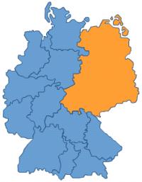 Geschäftsbereich der Sparda-Bank Berlin: Mecklenburg-Vorpommern, Brandenburg, Berlin, Sachsen-Anhalt, Sachsen, Thüringen
